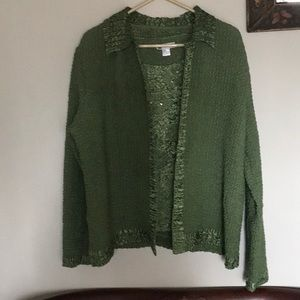 Beautiful Green popcorn style jacket and Shell top
